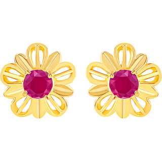 MJ Floral Gold Plated Stud Earring For Women