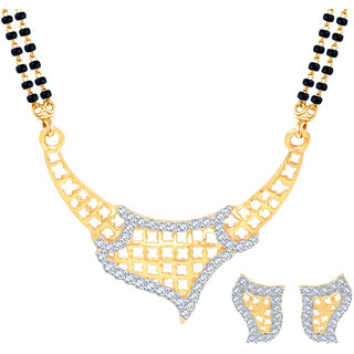 MJ Fashionable CZ Gold Plated Mangalsutra Set For Women