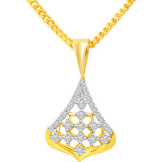 MJ Fancy CZ Gold Plated Pendant With Chain For Women
