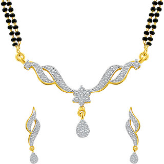 MJ Structural CZ Gold Plated Mangalsutra Set For Women