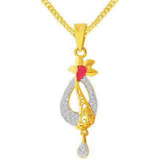 MJ Fashionable CZ Gold Plated Pendant With Chain For Women