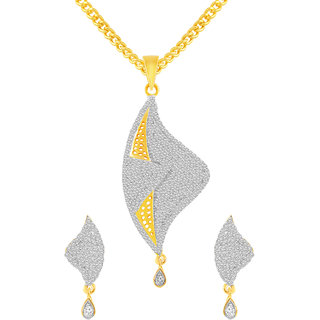 MJ Adorable CZ Gold Plated Pendant Set For Women