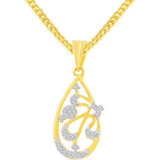 MJ Long-lasting CZ Gold Plated Pendant With Chain For Women