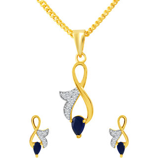 MJ Flawless CZ Gold Plated Pendant Set For Women