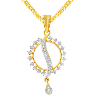 MJ Adorable CZ Gold Plated Pendant With Chain For Women