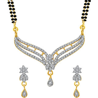 MJ Floral CZ Gold Plated Mangalsutra Set For Women