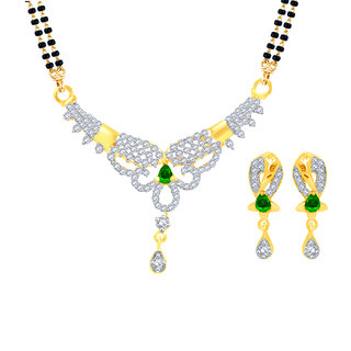 MJ Charming CZ Gold Plated Mangalsutra Set For Women