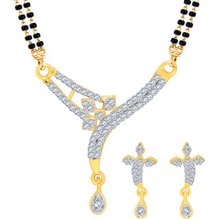 MJ Exotic CZ Gold Plated Mangalsutra Set For Women