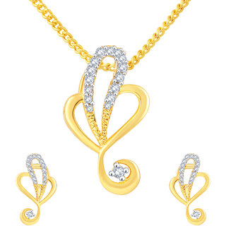 MJ Studded CZ Gold Plated Pendant Set For Women