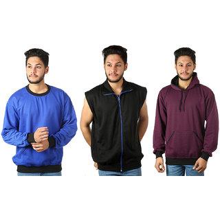 kristofer Men's Multicolor Solid Sweatshirt Pack of 3