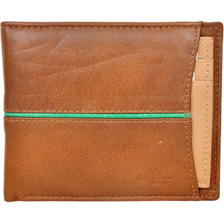 Chandair Pure Leather Brown with Green Piping Mens Wallet (CH-NW-09)