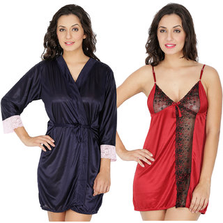 Klamotten Multicolor Satin Solid  Nightwear (Pack Of 2)
