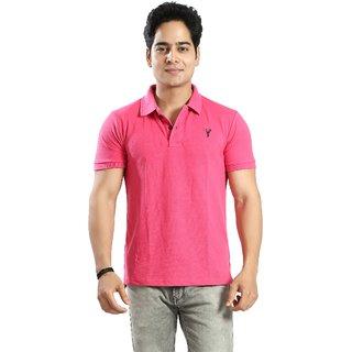 Awack Men's Solid Polo Neck Casual Cotton T-Shirt
