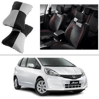 AutoStark Designer Car Seat Neck Cushion Pillow - Black and Grey Colour For Honda Jazz