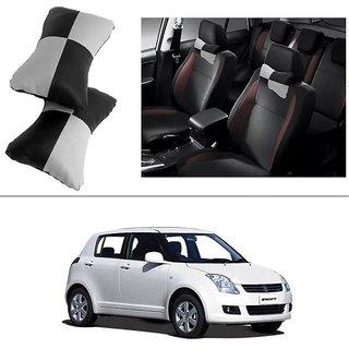 AutoStark Designer Car Seat Neck Cushion Pillow - Black and Grey Colour For Maruti Suzuki Swift