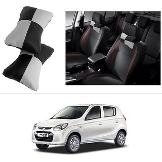 AutoStark Designer Car Seat Neck Cushion Pillow - Black and Grey Colour For Maruti Suzuki Alto-800