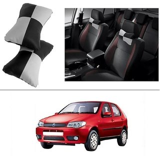 AutoStark Designer Car Seat Neck Cushion Pillow - Black and Grey Colour For Fiat Palio Stile