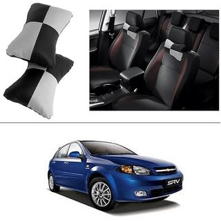 AutoStark Designer Car Seat Neck Cushion Pillow - Black and Grey Colour For Chevrolet Optra SRV