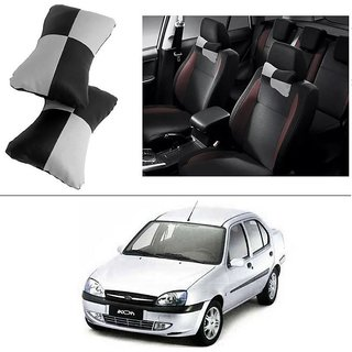 AutoStark Designer Car Seat Neck Cushion Pillow - Black and Grey Colour For Ford Ikon