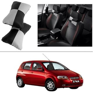 AutoStark Designer Car Seat Neck Cushion Pillow - Black and Grey Colour For Chevrolet Aveo Uva