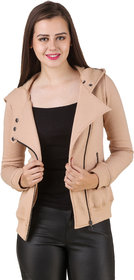 Texco Women'S Beige Full Sleeves Zippered Jackets