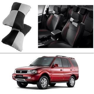 AutoStark Designer Car Seat Neck Cushion Pillow - Black and Grey Colour For Tata Safari