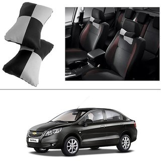 AutoStark Designer Car Seat Neck Cushion Pillow - Black and Grey Colour For Chevrolet Sail