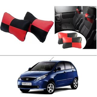 AutoStark Designer Car Seat Neck Cushion Pillow - Red and Black Colour For Tata Indica Vista