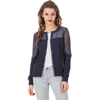 Texco Navy Cotton Lycra Winter Shrug For Women