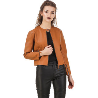 Texco WomenS Tan Full Sleeves Zippered Jackets