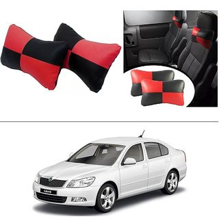 AutoStark Designer Car Seat Neck Cushion Pillow - Red and Black Colour For Skoda Laura