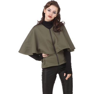 Texco Women'S Green Full Sleeves Zippered Jackets