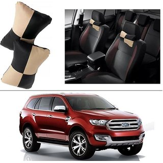 AutoStark Designer Car Seat Neck Cushion Pillow - Black and Beige Colour For Ford Endeavour New2015