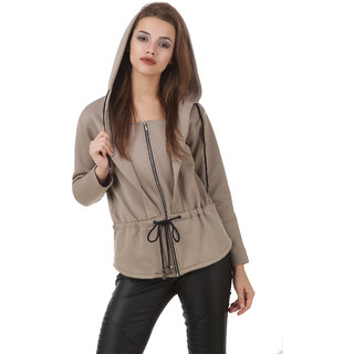 Texco WomenS Beige Full Sleeves Zippered Jackets