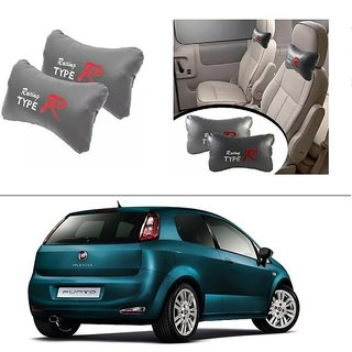 AutoStark Type R Car Seat Neck Cushion Pillow - Grey Colour For Fiat New Punto 2015