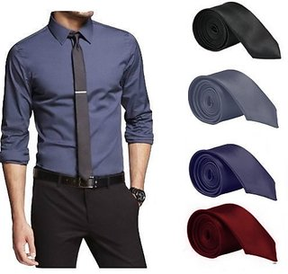 Men's Tie Combo of 4 Classic Satin Slim Necktie (Colour Black, Grey, Navy Blue, Maroon )- By Billebon