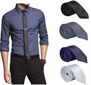 Set of 4 Slim Satin Tie for Men - Formal, Party Wear, Birthday Gifts.(Colour Black, Grey, Navy Blue, Silver)