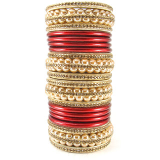 Sukriti Rajasthani Bridal Red Golden Lac Chura Bangles for Women - Set of 20