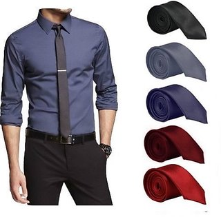 Set of 5 Slim Satin Tie for Men - Formal, Party Wear, Birthday Gifts.(Colour Black, Grey, Navy Blue, Maroon, Red)