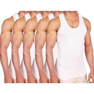 Green Bird Men's White RN Vest 5 Pcs pack - Premium Cotton
