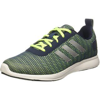 Adidas Mens Black Green Lace-up Running Shoes