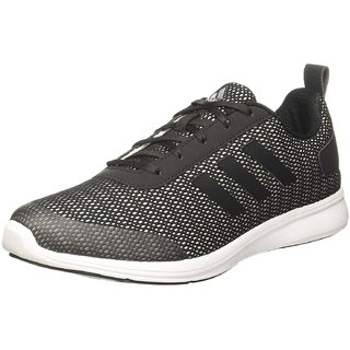 Adidas Mens Black Gray Lace-up Running Shoes
