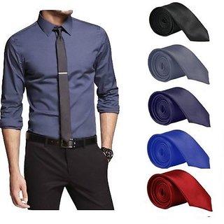 Set Of 5 Slim Satin Tie For Men