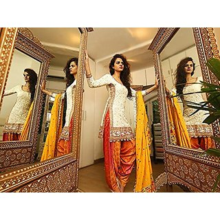 Clothfab Women's Designer PC Cotton Embroidered Party Wear Patialas Salwar Suit Dress Material (White-Color) (Unstitched)