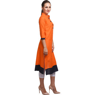 SD AQUA+ Cotton Cambric Orange Ethnic Kurtis For Women