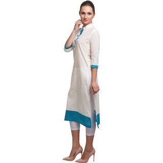 SD AQUA+ Cotton Cambric Off-White Ethnic Kurtis For Women