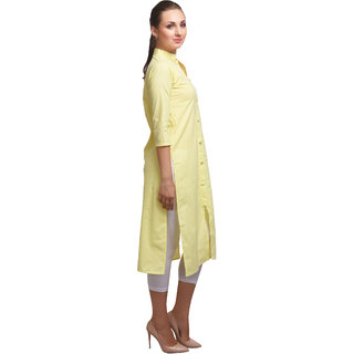 SD AQUA+ Cotton Cambric Neon Yellow Ethnic Kurtis For Women