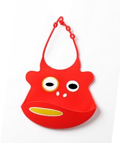 Baby Oodles Red Silicon Bibs - Set of 1