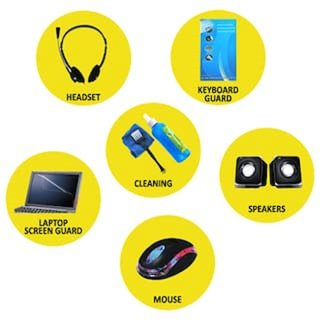 Techon Combo of Headphone + Speaker + Cleaning Kit + Keyboard Protective + Mouse + Laptop Screen Guard