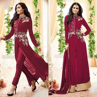 The Woman Taxfeb Maysha Georgette Maroon Suit